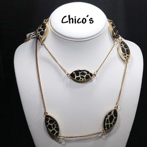 Chico's Nala Necklace, Gold Tone, Animal Print